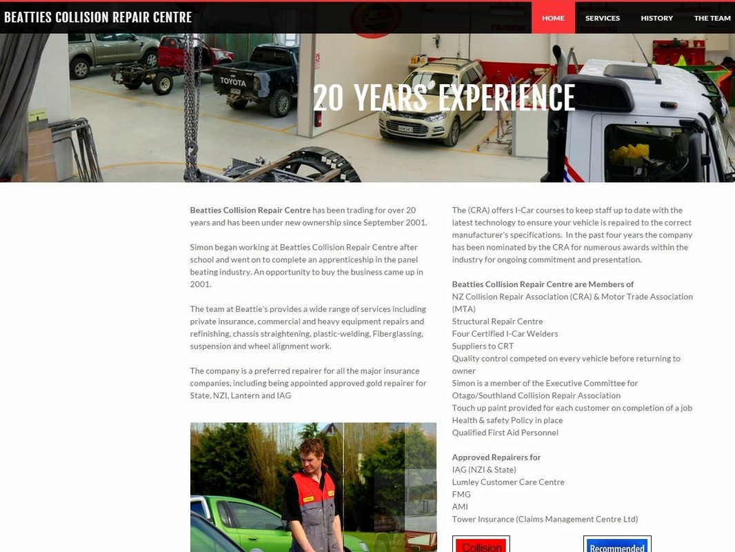 Beatties Collision Repair Website Image Gore NZ