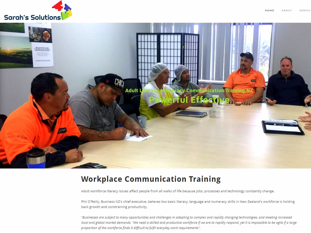 Sarahs Solutions Best Literacy Workplace Training NZ Hardwick Enterprises Website Design